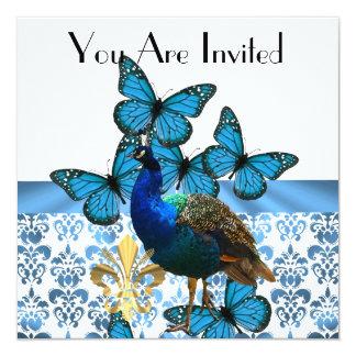 Peacock & blue butterflies card