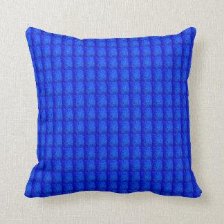 Peacock Blue Cobalt Checkered Squares Throw Pillow