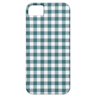 Peacock Blue (Dark Teal or Aqua) and White Gingham Case For The iPhone 5