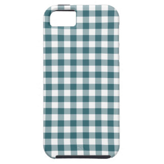 Peacock Blue (Dark Teal or Aqua) and White Gingham iPhone 5 Covers