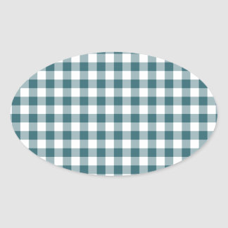 Peacock Blue (Dark Teal or Aqua) and White Gingham Oval Sticker