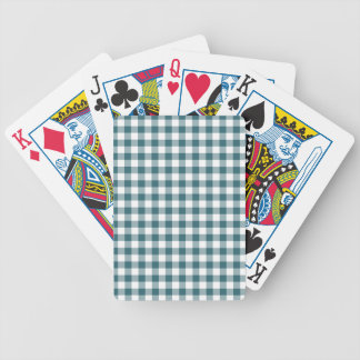 Peacock Blue (Dark Teal or Aqua) and White Gingham Poker Deck