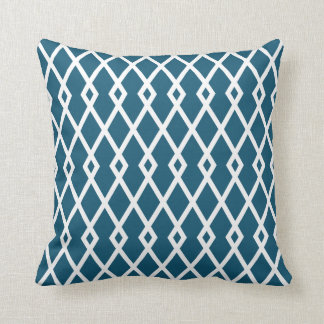 Peacock Blue Diamond Trellis Pillow
