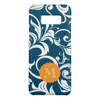 Peacock Blue Floral Wallpaper Swirl Monogram Case-Mate Samsung Galaxy S8 Case