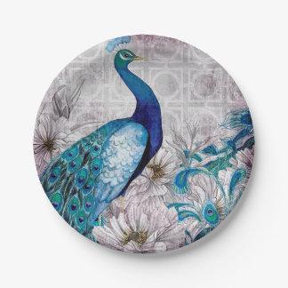 Peacock Blue Garden Paper Plate