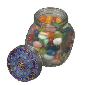Peacock Blue Geometric Candy Jar Glass Jars
