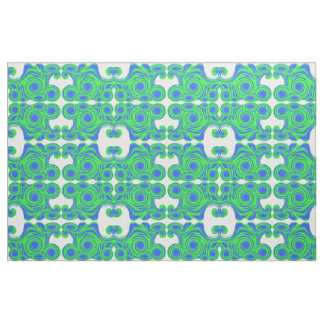 Peacock blue green abstract pattern fabric