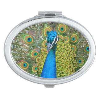 Peacock Blue Head with and Colorful Tail Feathers Mirror For Makeup
