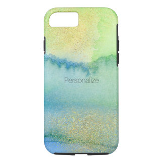 Peacock Blue Mint Gold Watercolor Abstract iPhone 8/7 Case