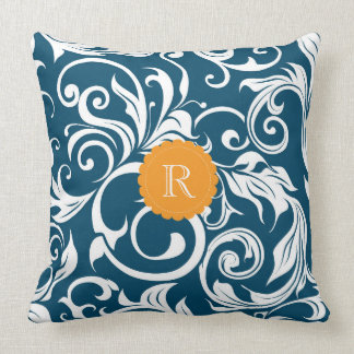 Peacock Blue Orange Floral Wallpaper Monogram Throw Pillow