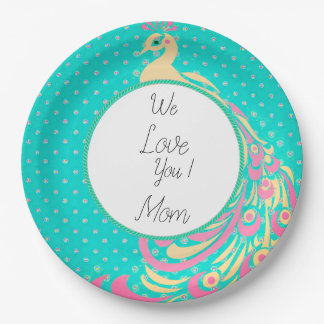 Peacock-Blue-Pink-Celebrations-Monogram-Template Paper Plate
