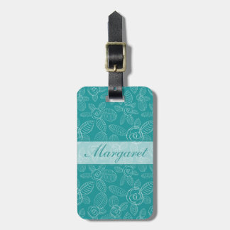 Peacock Blue Roses Luggage Tag