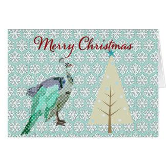 Peacock Blue Snowflake  Christmas Greeting Greeting Card