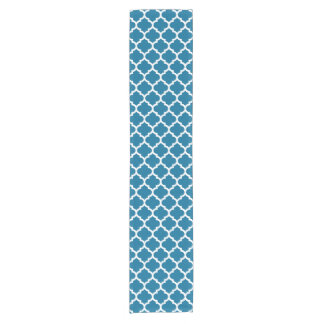 Peacock Blue White Moroccan Quatrefoil Pattern #5 Short Table Runner