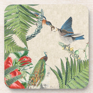 Peacock Bluebird Birds Rose Flowers Coaster
