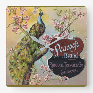 Peacock Brand Citrus Crate Label Square Wall Clock