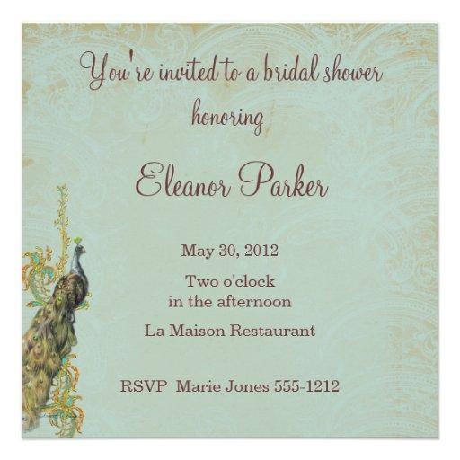 Peacock Bridal Shower Invitation