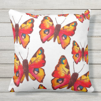 Peacock Butterflies Throw Pillow