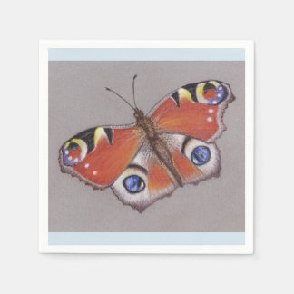Peacock Butterfly Cocktail Napkins/light blue edge Disposable Napkins