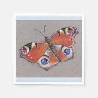 Peacock Butterfly Cocktail Napkins/light blue edge Paper Napkin