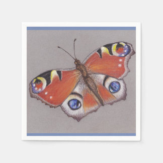 Peacock Butterfly Cocktail Napkins Paper Napkins