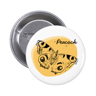 Peacock butterfly fried egg badge 2 inch round button