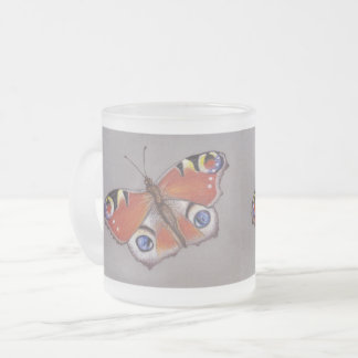 Peacock Butterfly Frosted Glass Mug