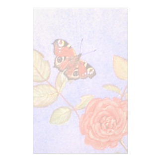 Peacock Butterfly on roses art Personalized Stationery