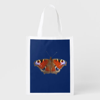 peacock butterfly reusable grocery bag