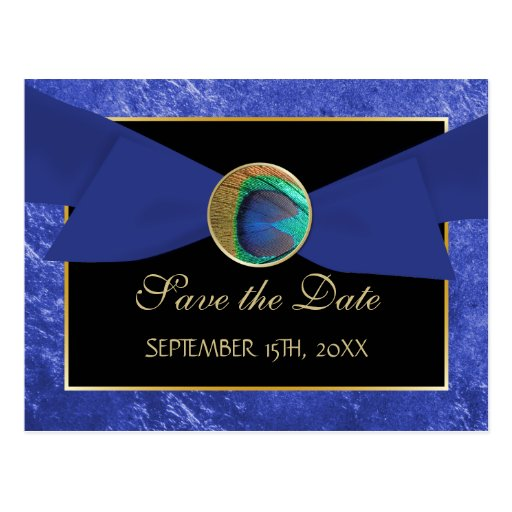 Peacock Button & Bow SAVE THE DATE Postcard-Blue