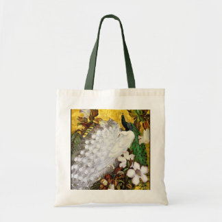 Peacock Canvas Bag:  White and Blue Peacocks Tote Bag