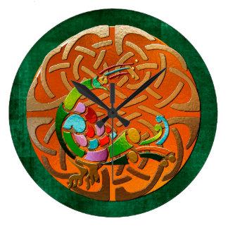 Peacock Celtic Deco Jeweled Wallclock
