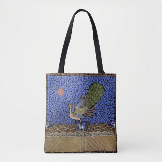 peacock, chinese art, vintage tote bag