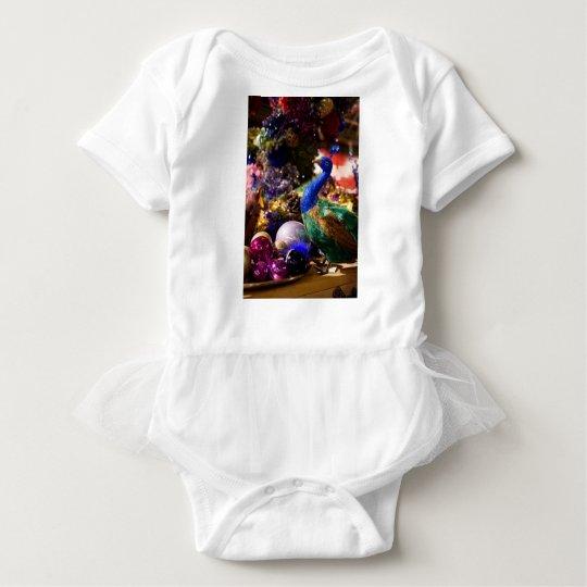 Peacock Christmas Design Baby Bodysuit