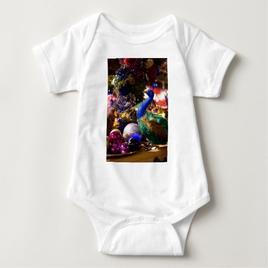 Peacock Christmas Design Baby Bodysuit