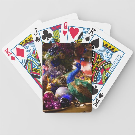 Peacock Christmas Design Bicycle Playing Cards