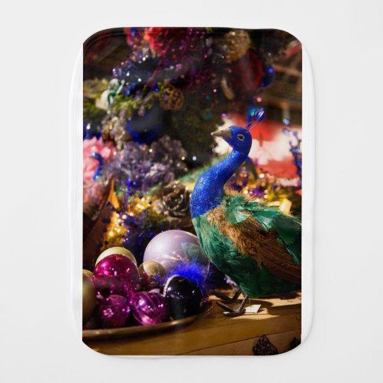 Peacock Christmas Design Burp Cloth