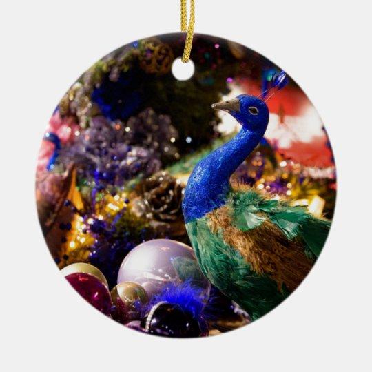 Peacock Christmas Design Ceramic Ornament
