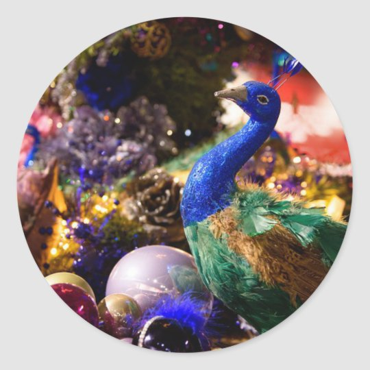 Peacock Christmas Design Classic Round Sticker