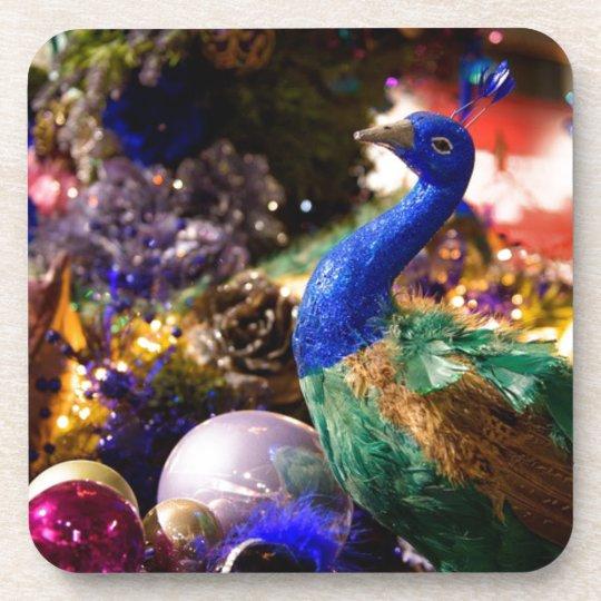 Peacock Christmas Design Coaster