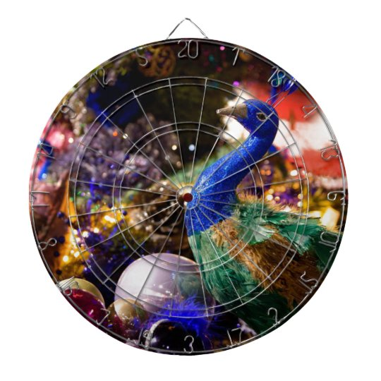 Peacock Christmas Design Dartboard