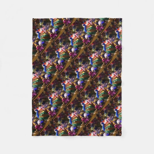 Peacock Christmas Design Fleece Blanket