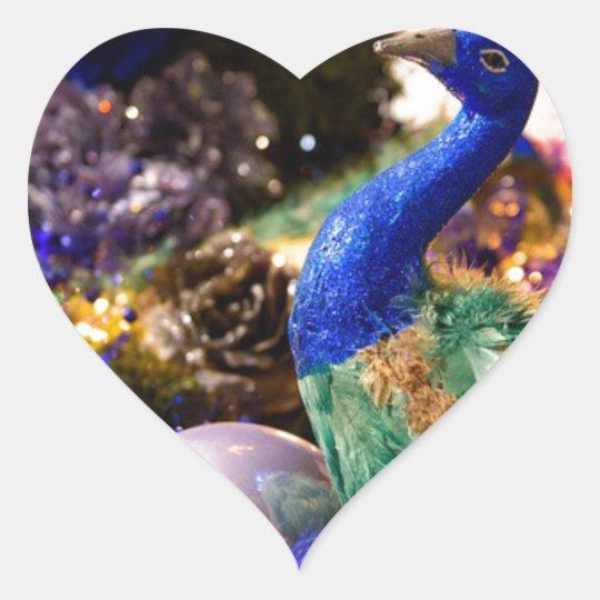 Peacock Christmas Design Heart Sticker