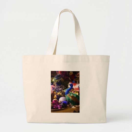 Peacock Christmas Design Large Tote Bag