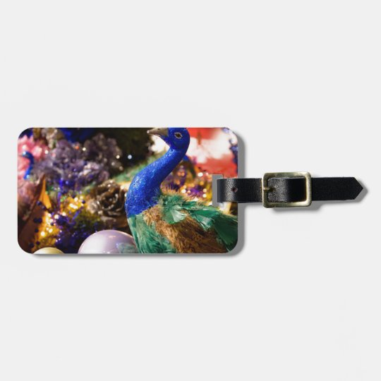 Peacock Christmas Design Luggage Tag