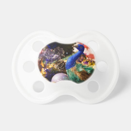 Peacock Christmas Design Pacifier