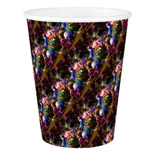 Peacock Christmas Design Paper Cup