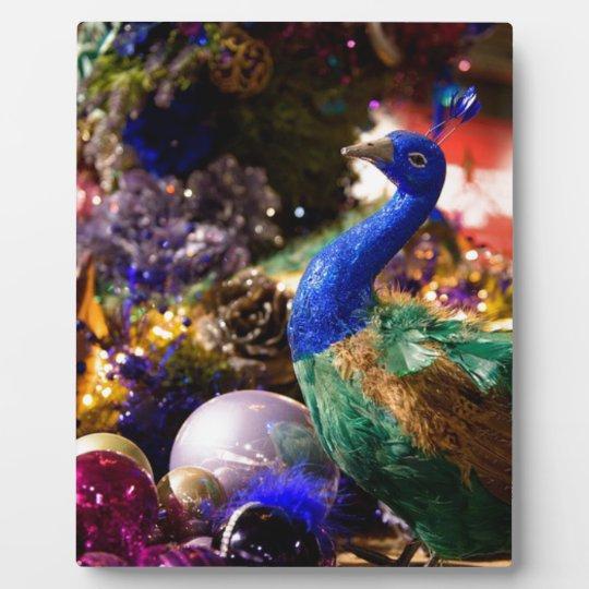 Peacock Christmas Design Plaque