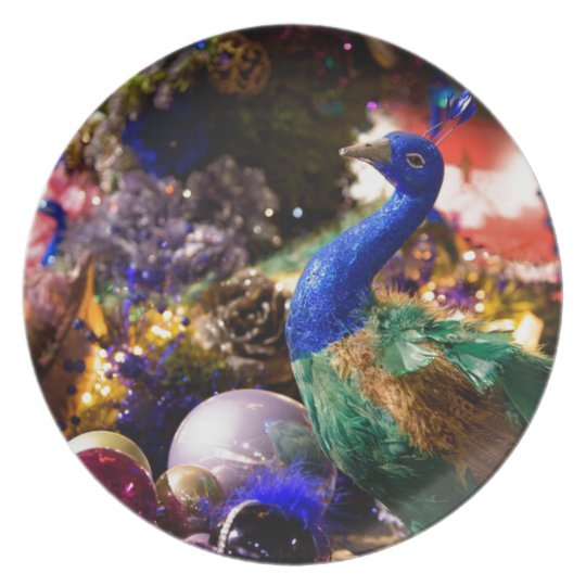 Peacock Christmas Design Plate