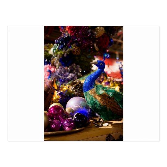 Peacock Christmas Design Postcard